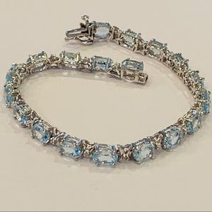 Topaz diamond sterling silver tennis bracelet